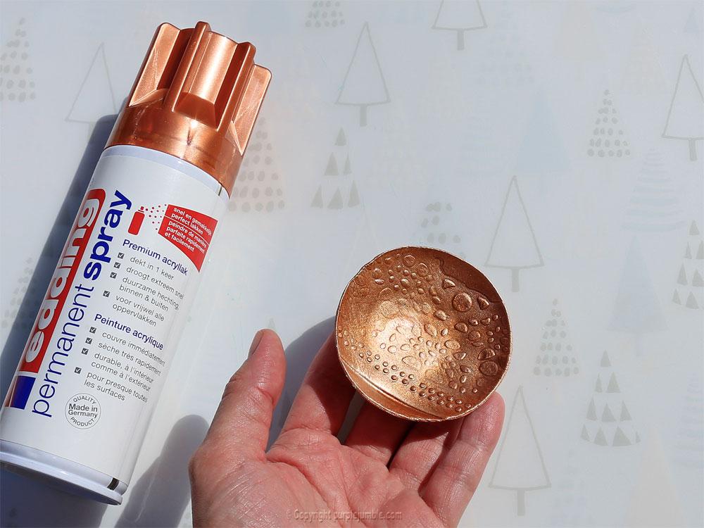 diy coupelles peinture metallisée edding cuivre