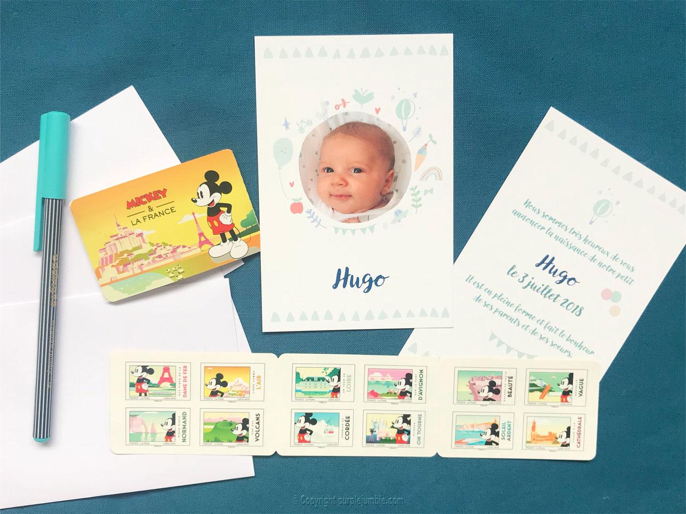 faire-part naissance popcarte timbres