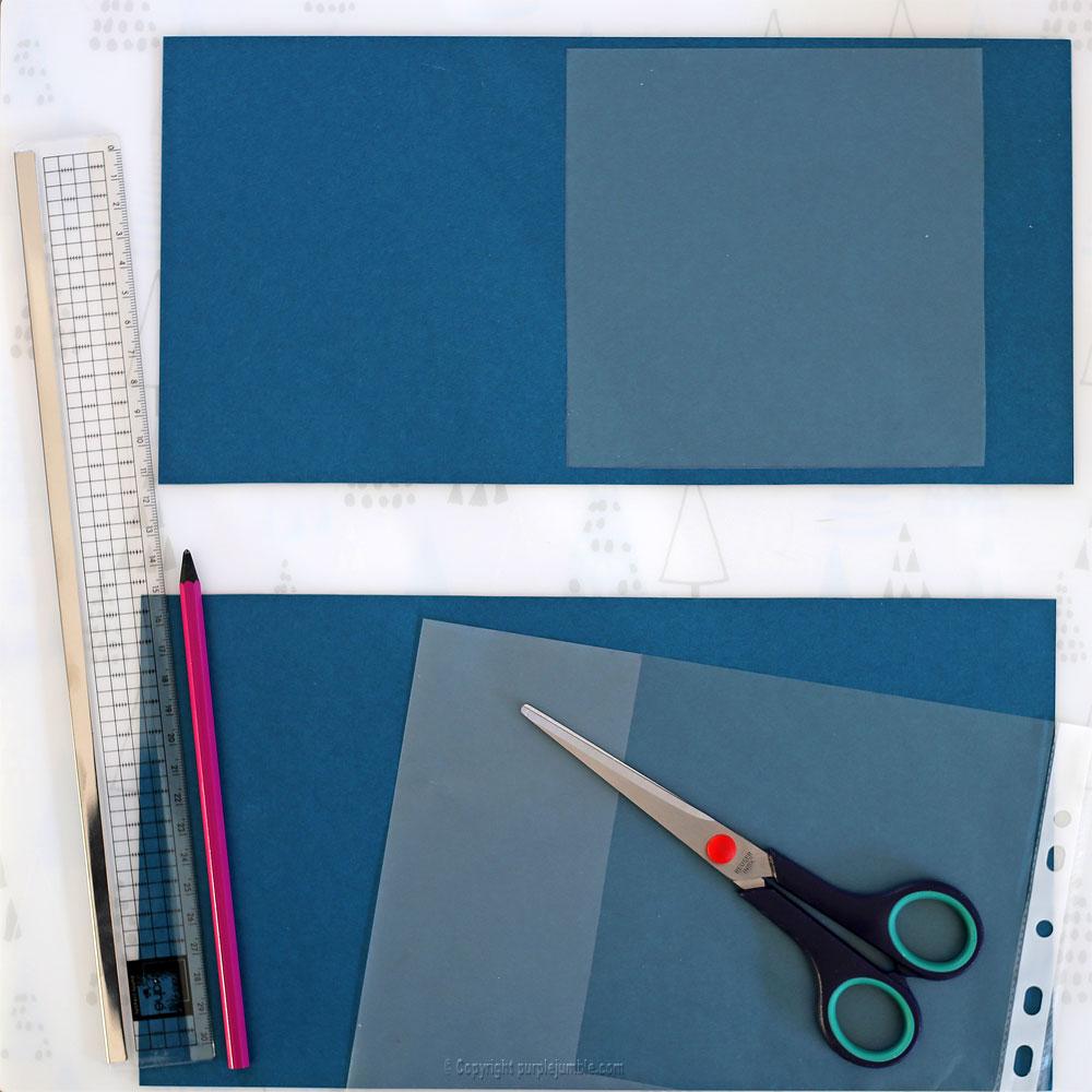 diy carte de vœux bleu rosaces shaker box matériel