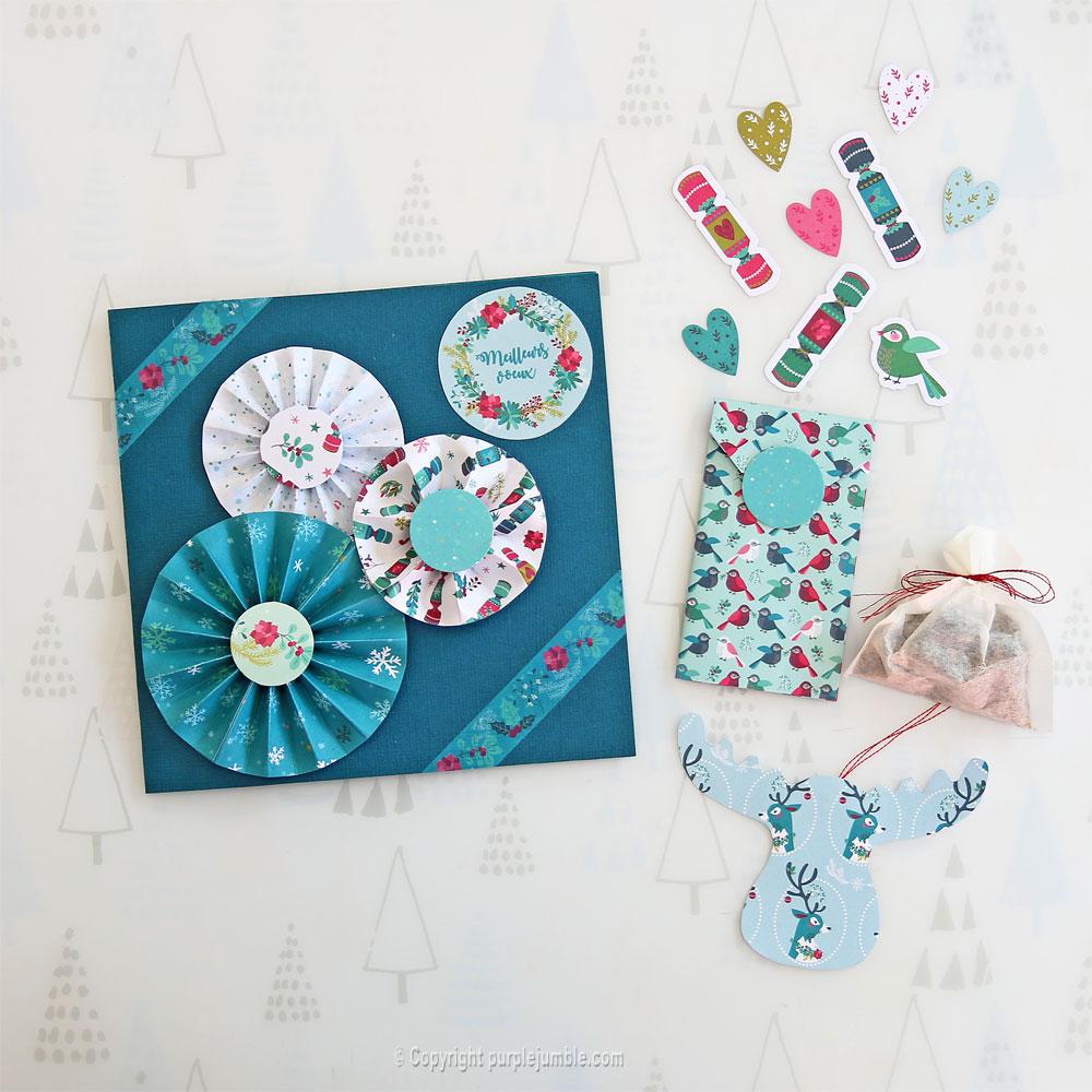 diy carte de vœux bleu rosaces shaker box cadeaux