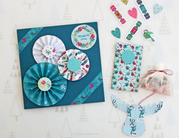 diy carte de vœux bleu rosaces shaker box présentation