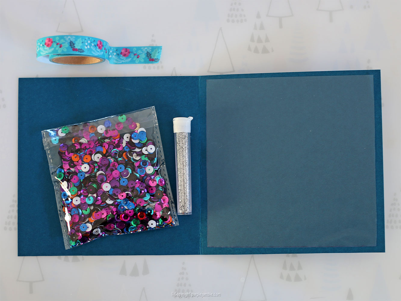 diy carte de vœux bleu rosaces shaker box paillettes