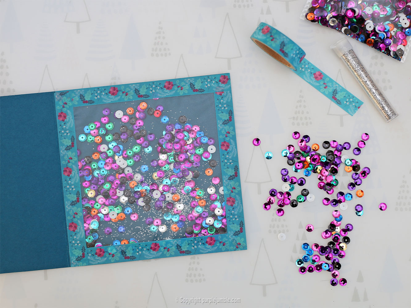 diy carte de vœux bleu rosaces shaker box sequins