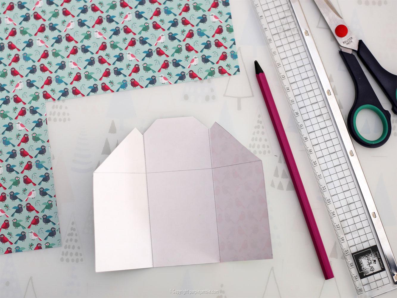 diy carte de vœux bleu rosaces shaker box découpe