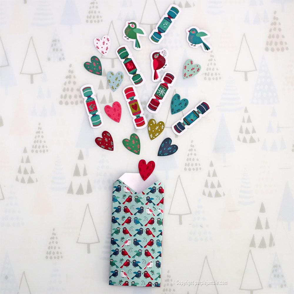 diy carte de vœux bleu rosaces shaker box confettis