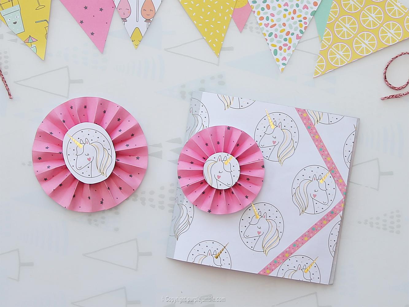 diy carte de vœux kawaii licorne rosace papier