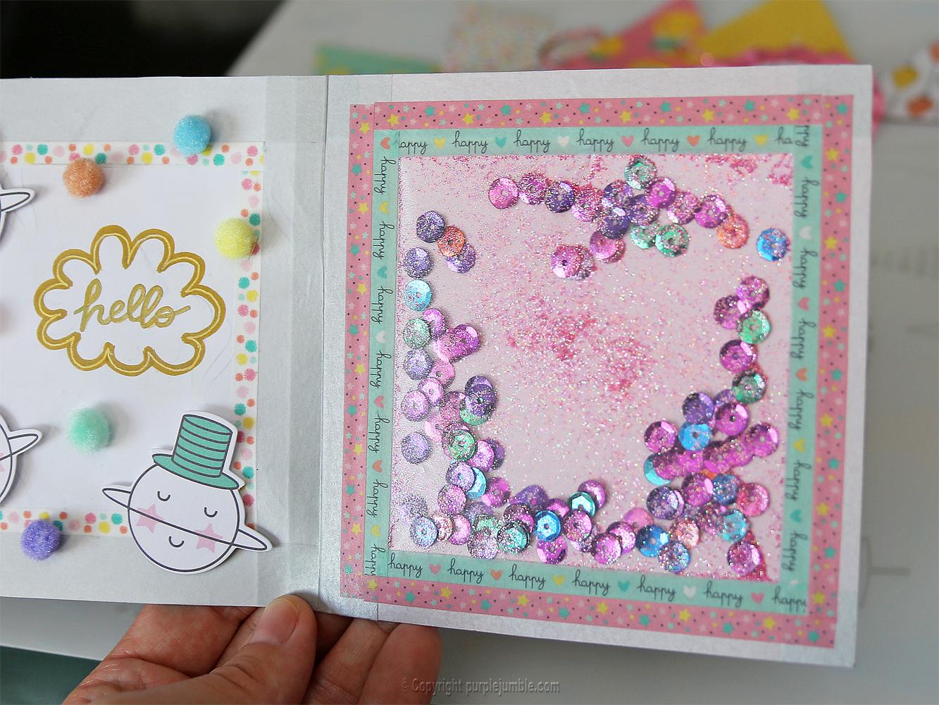 diy carte de vœux kawaii licorne paillettes