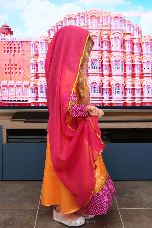 déguisement indienne rose