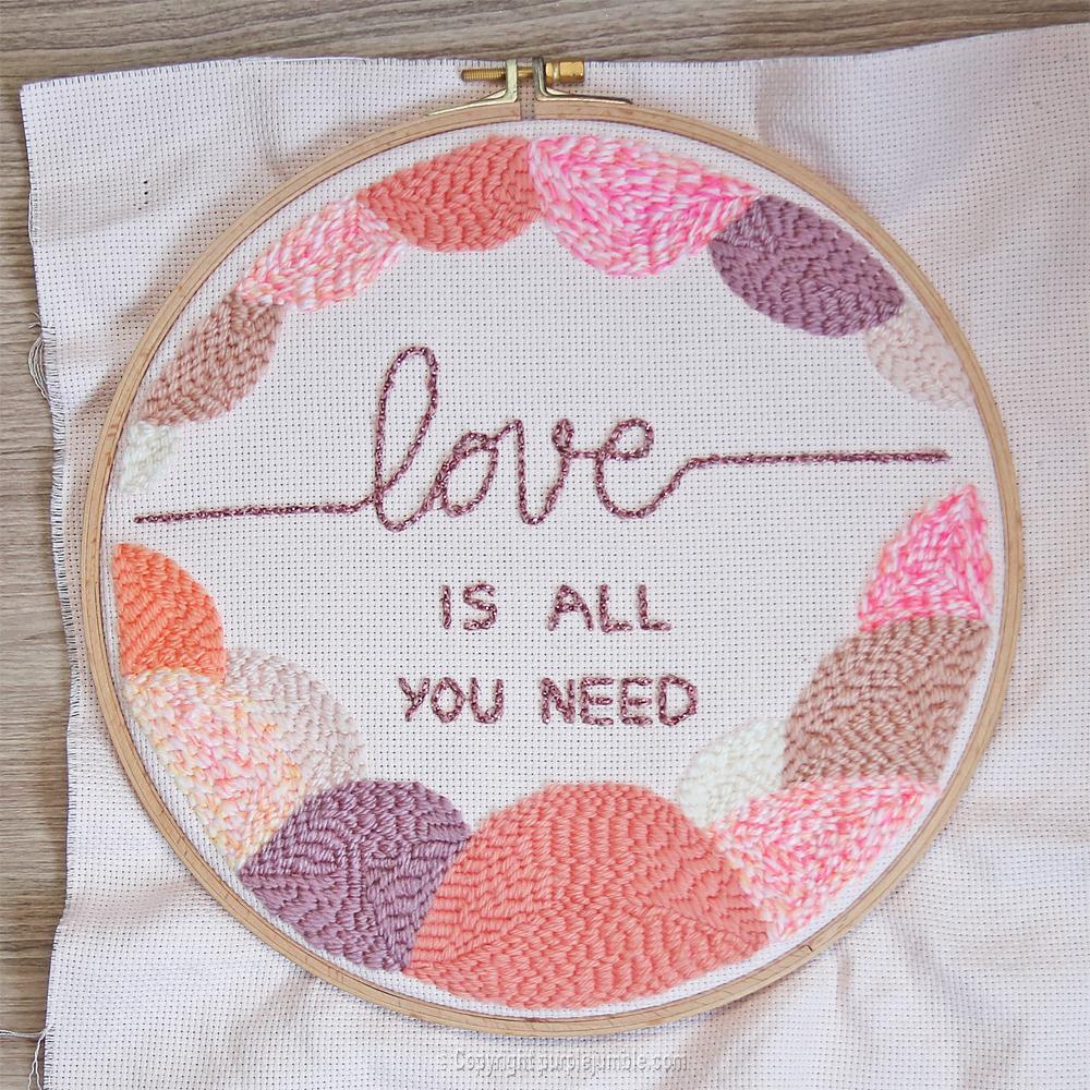 diy cadre punch needle love multicolore