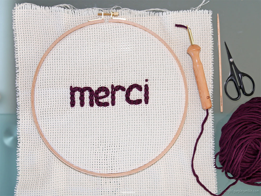 diy cadre punch needle merci message