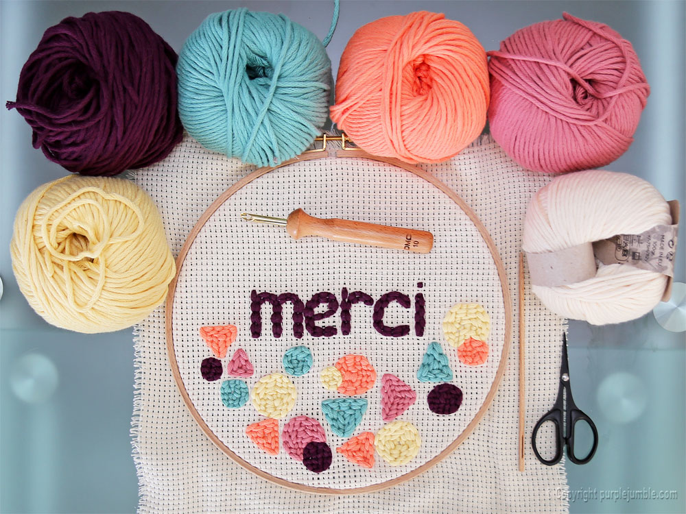 diy cadre punch needle merci multicolore