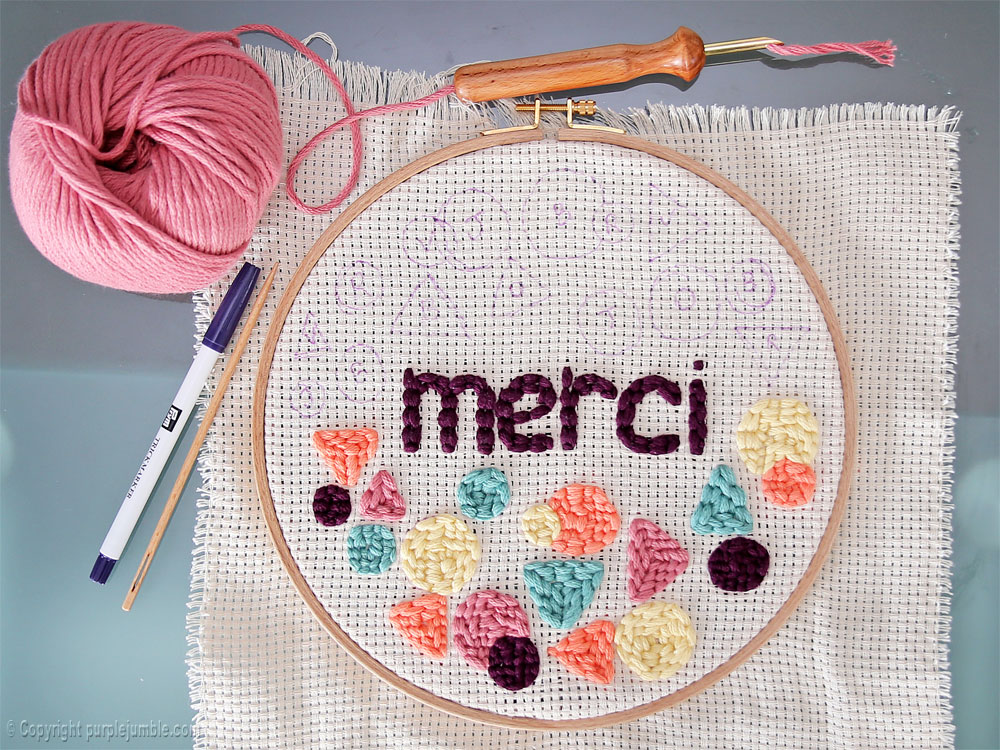 diy cadre punch needle merci dessins