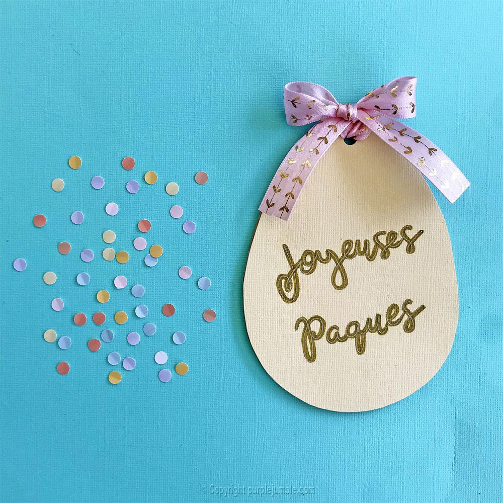 diy carte paques oeuf confettis