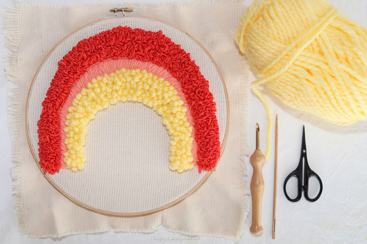 diy arc en ciel punch needle laine