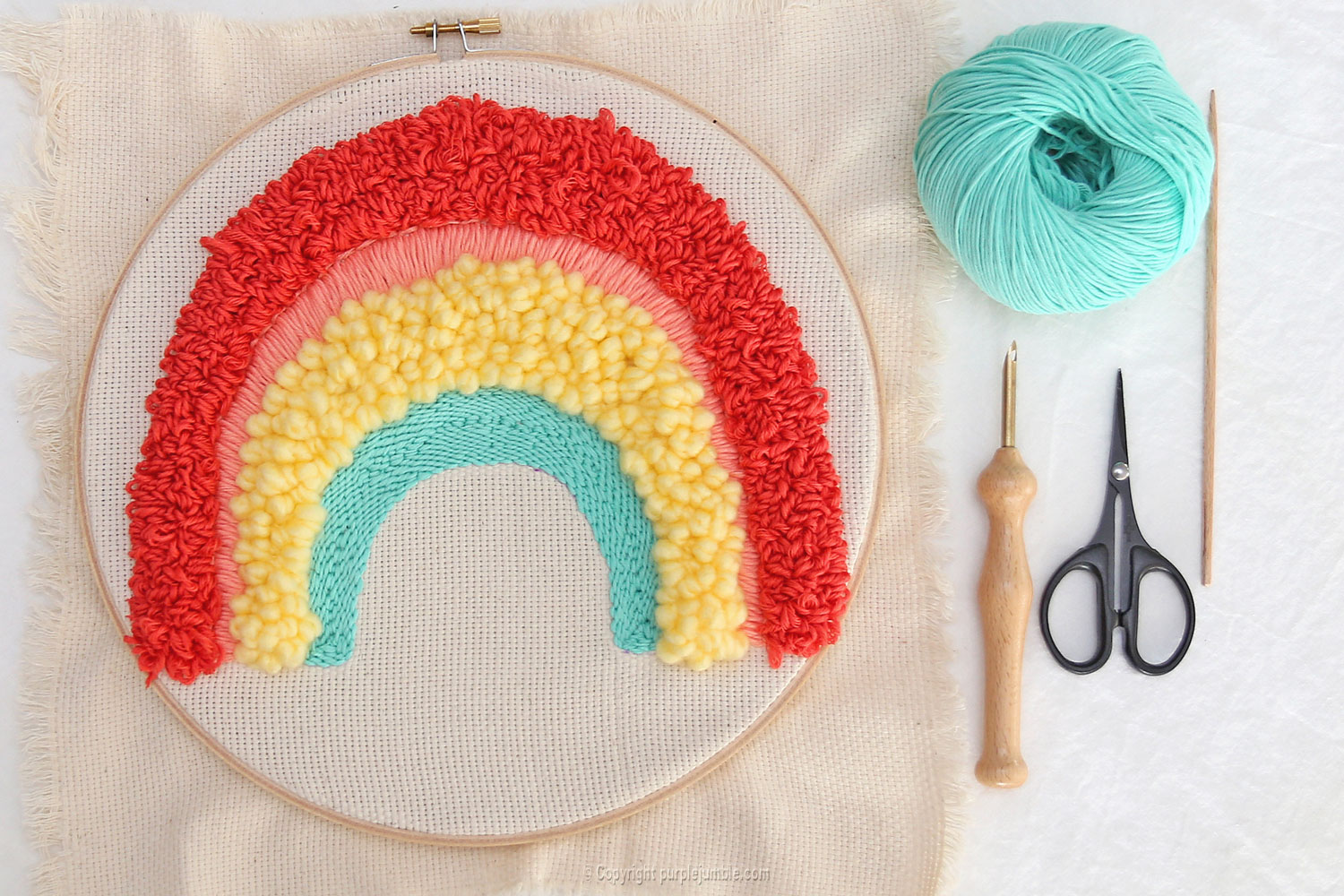 diy arc en ciel punch needle vert