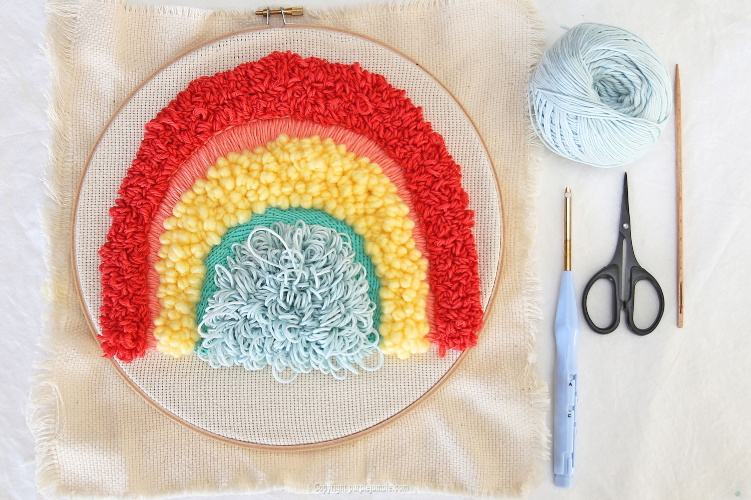 diy arc en ciel punch needle boucles