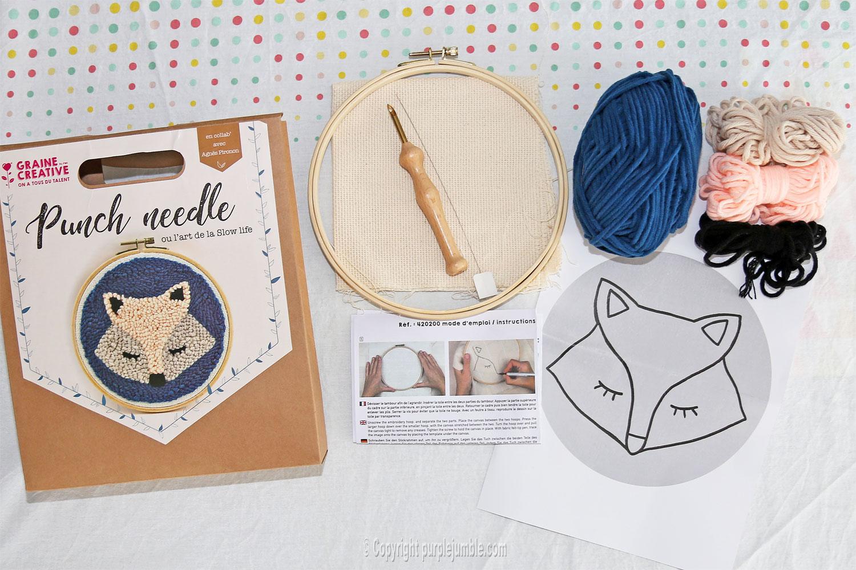 diy cadre-renard-punch needle graine créative kit