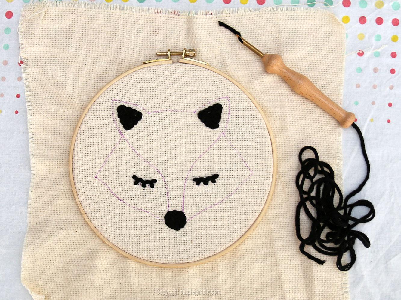 diy cadre-renard-punch needle graine créative dessin