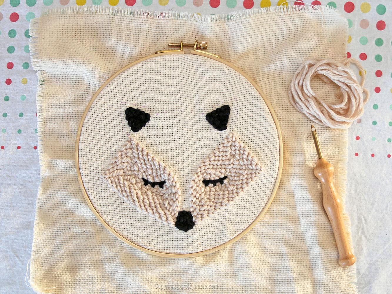 diy cadre-renard-punch needle graine créative laine