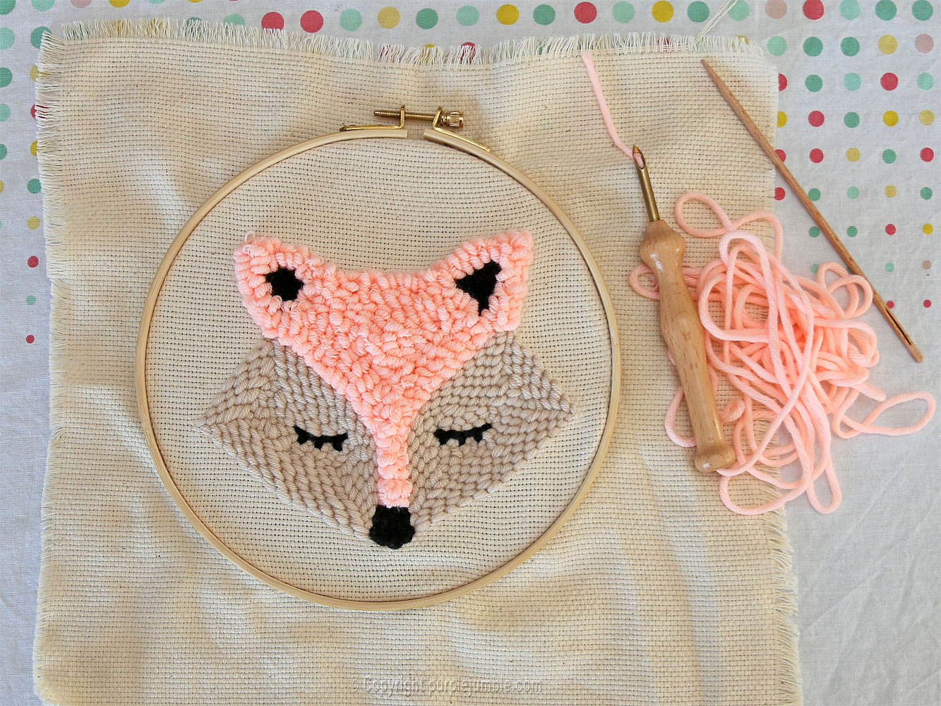diy cadre-renard-punch needle graine créative broderie