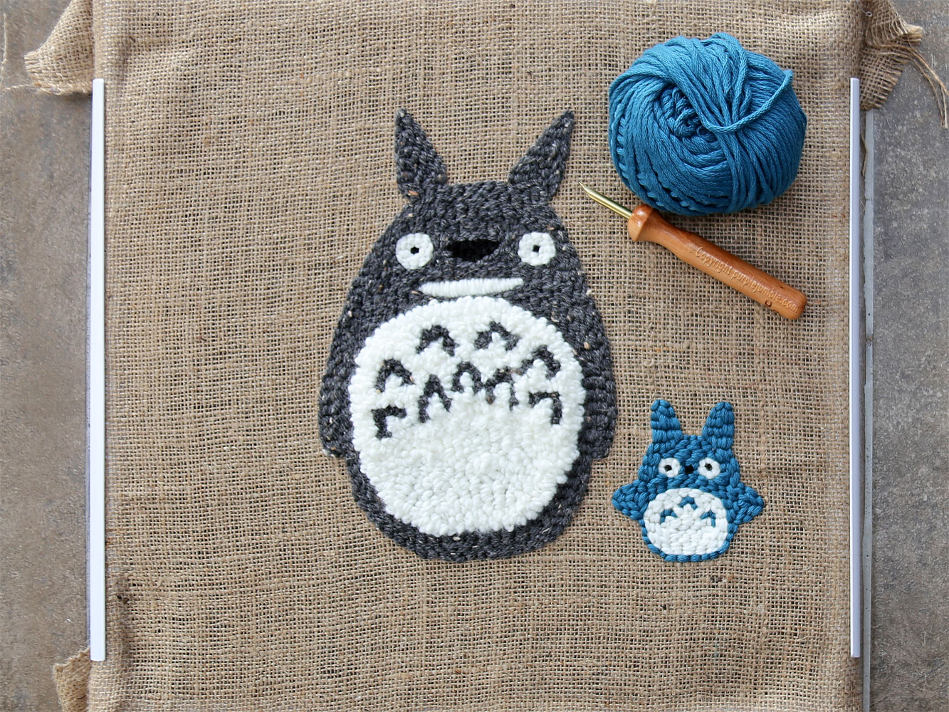 diy coussin punch needle totoro personnages