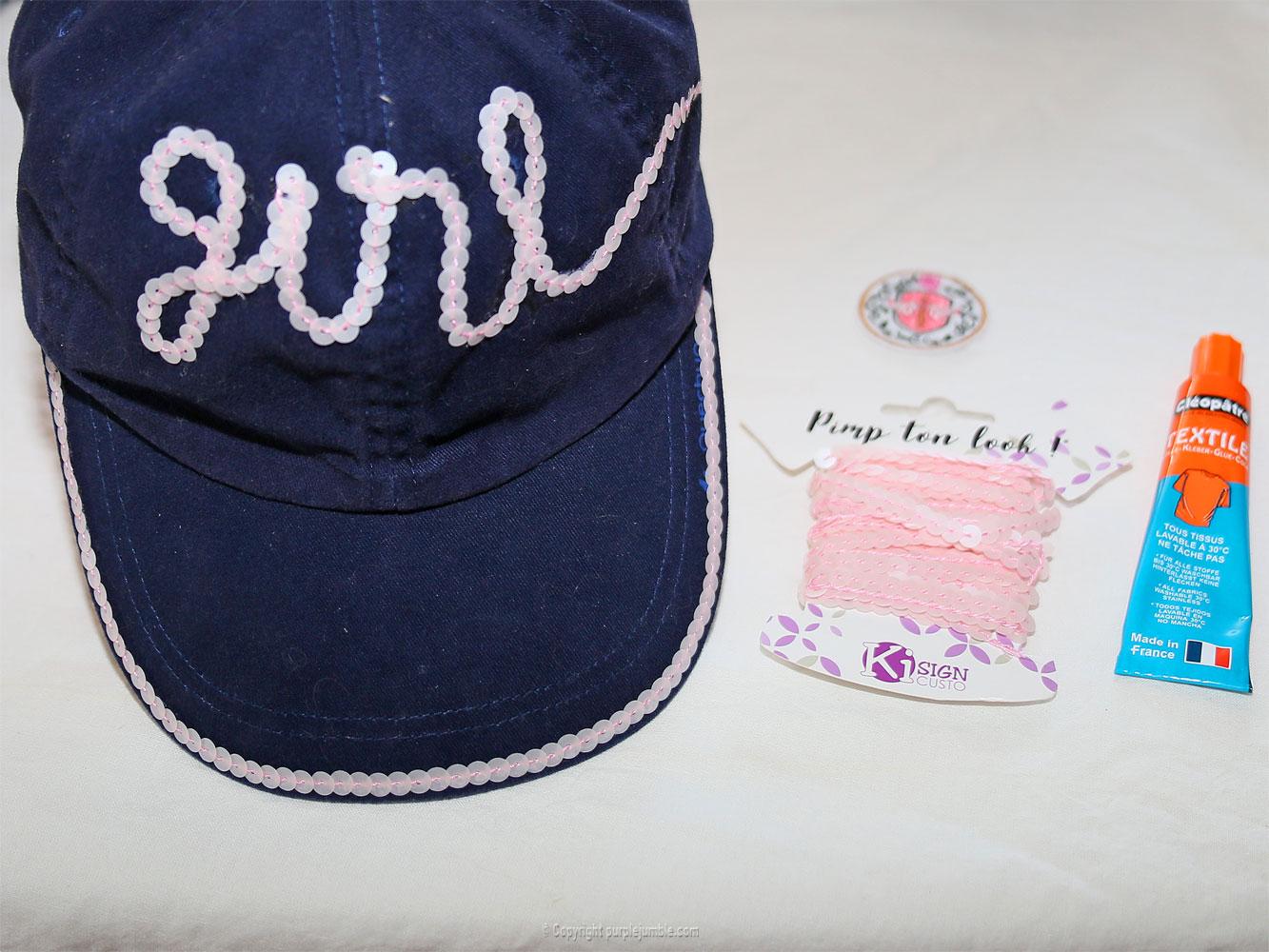 diy casquette customisée sequins ruban