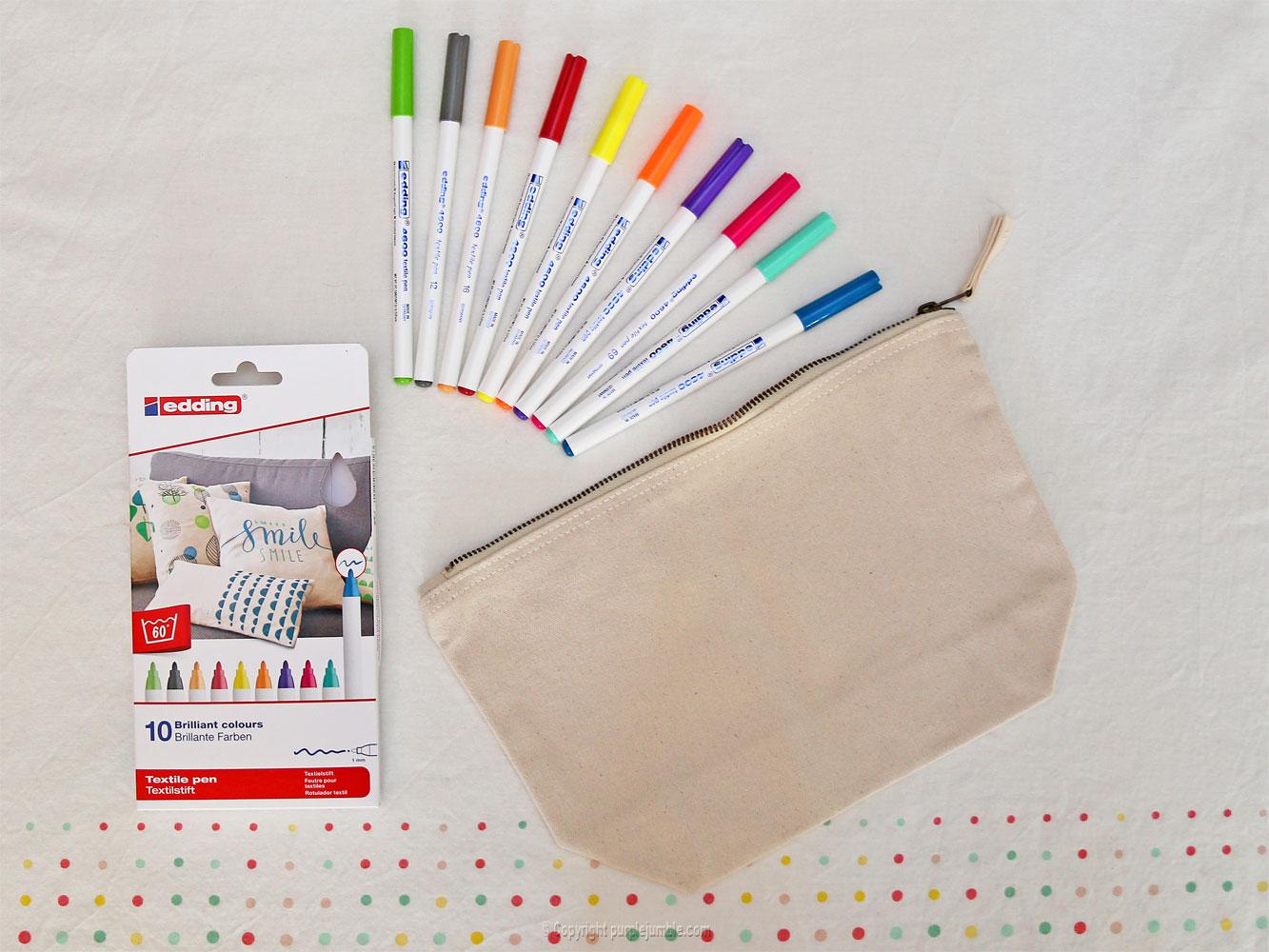 diy pochette feutres textile edding