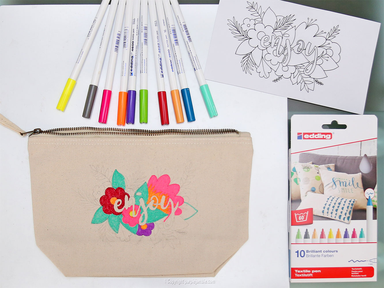 diy pochette feutres textile coloriage