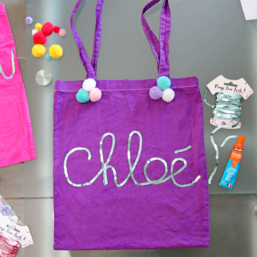 diy tote bag customisés sequins chloé