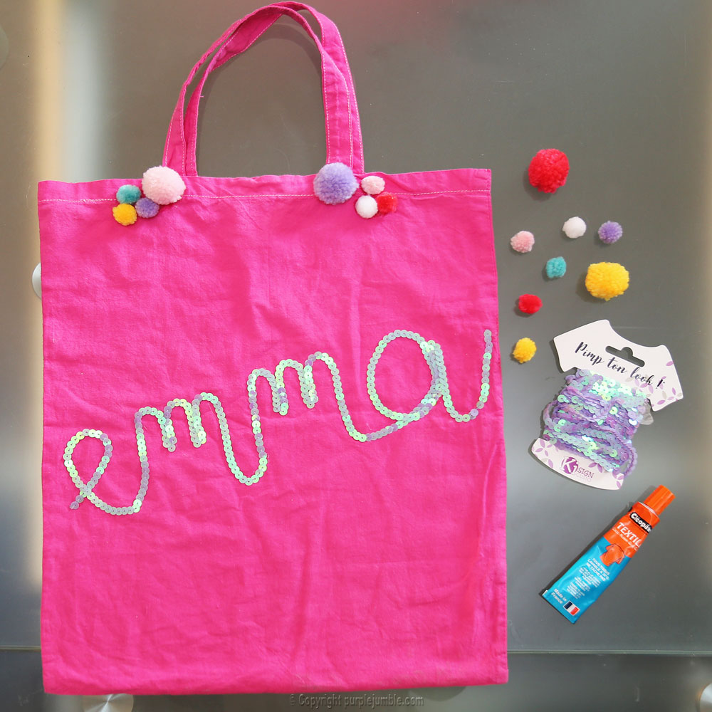 diy tote bag customisés sequins emma