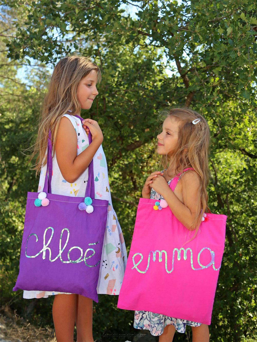 diy tote bag customisés sequins accessoires