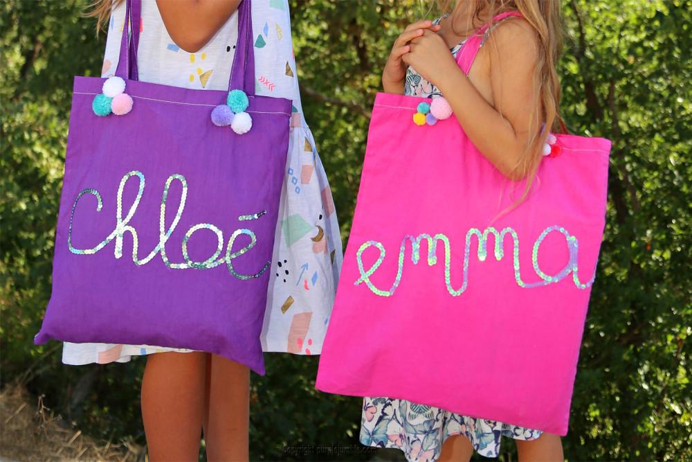 diy tote bag customisés sequins pompons