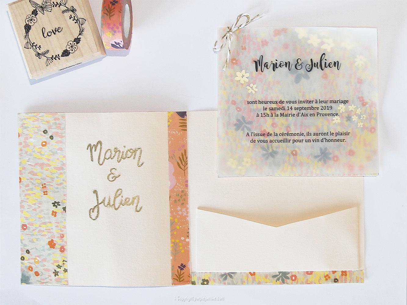 diy faire-part mariage papier
