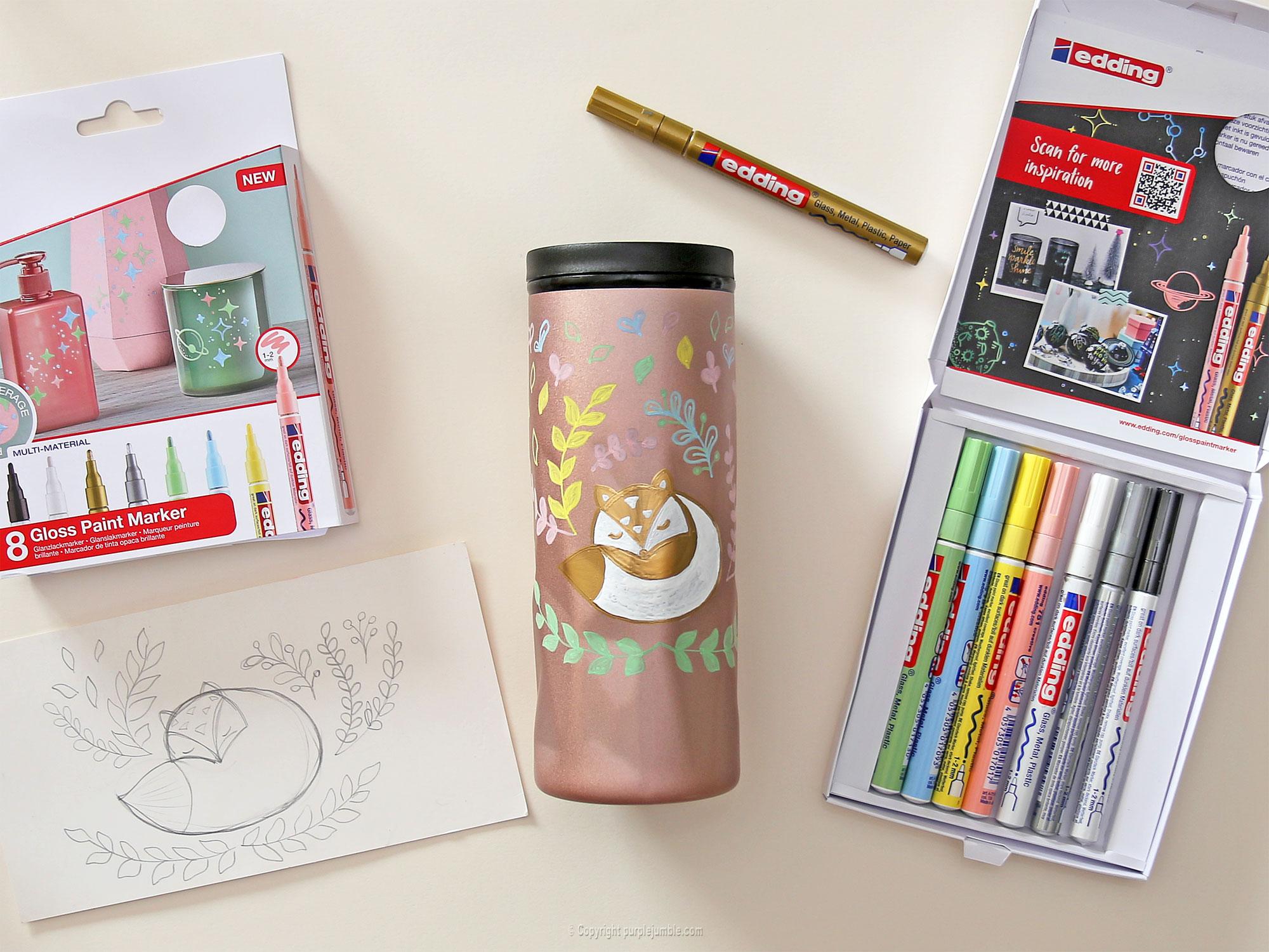 diy mug customisé marqueurs edding dessin