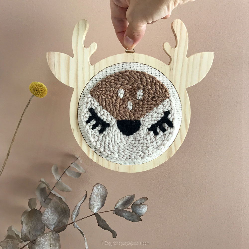 diy punch needle biche graine creative fini