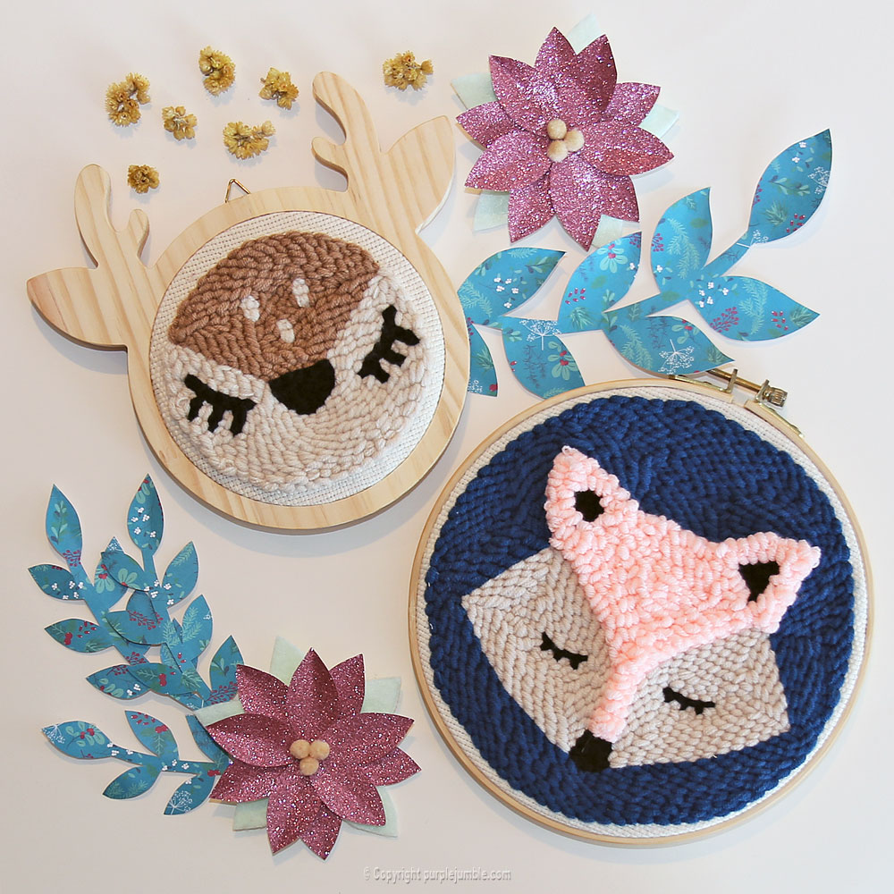diy punch needle biche graine creative renard
