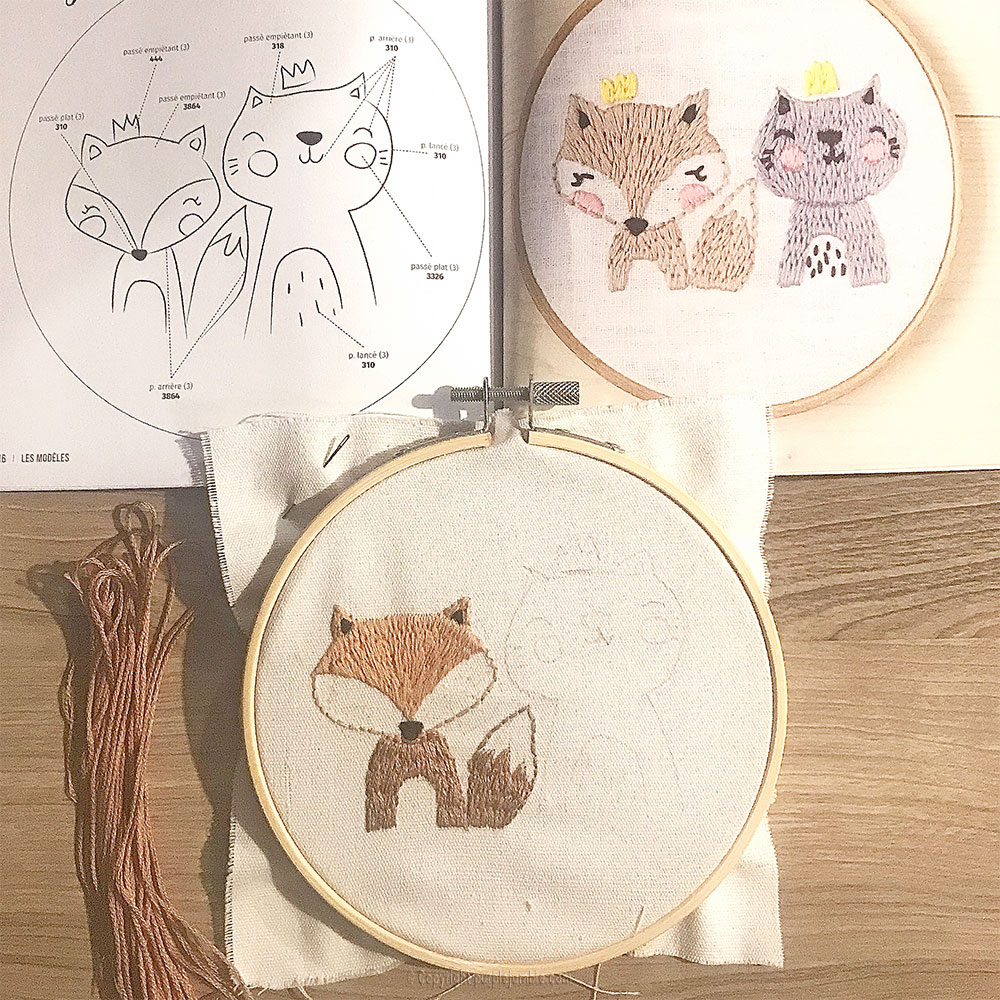 diy kit broderie animaux mignons renard