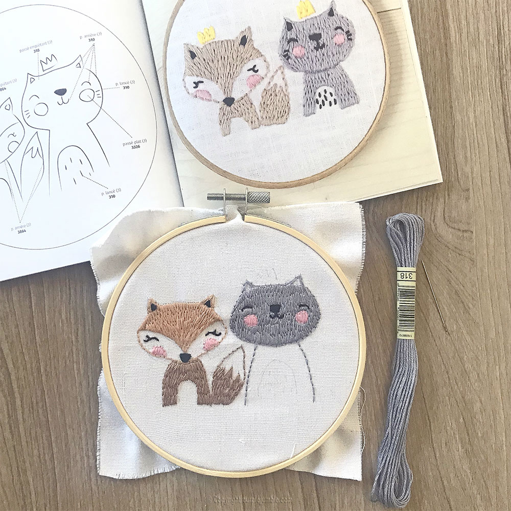 diy kit broderie animaux mignons chat