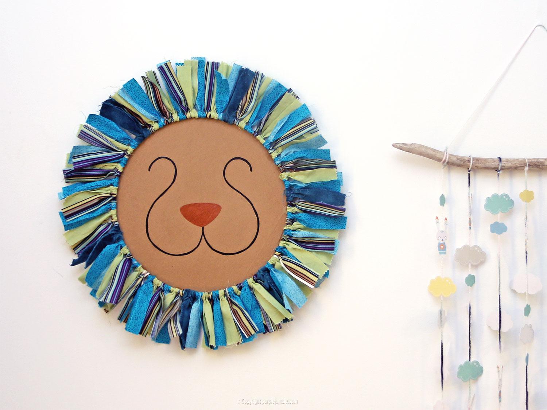 diy deco murale tete de lion chambre