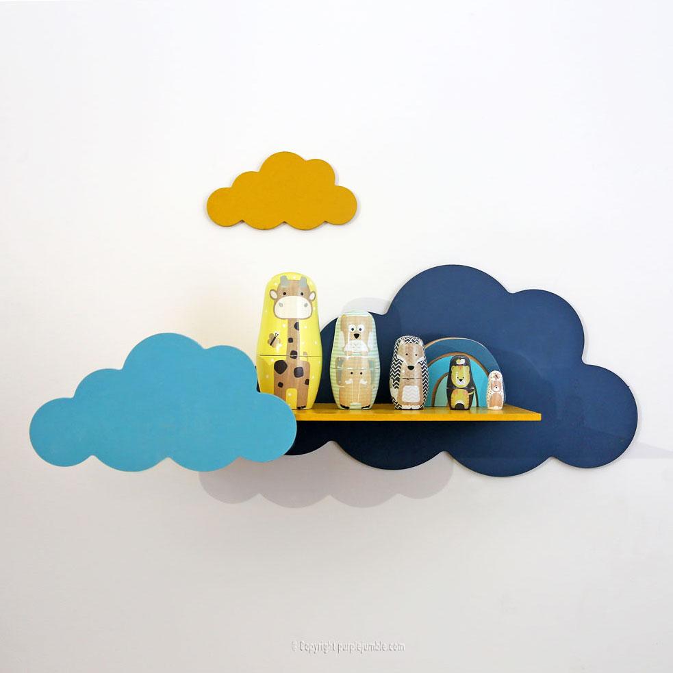 diy étagère nuages mur