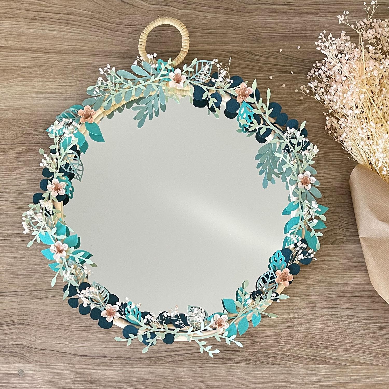 diy zodio cricut miroir printanier fleurs sechees