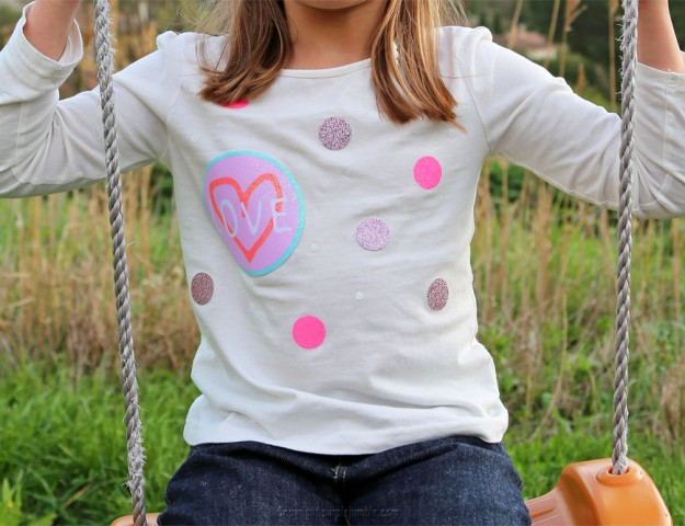 diy customisation t-shirt paillettes photo finale