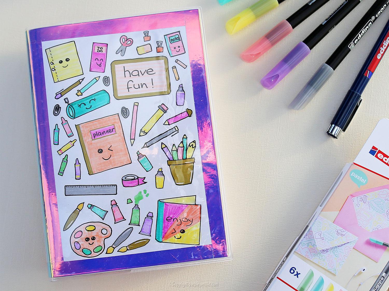 un agenda kawaii customisé pour la rentrée diy  purple