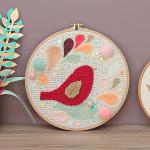 diy cadre oiseau punch needle décoration