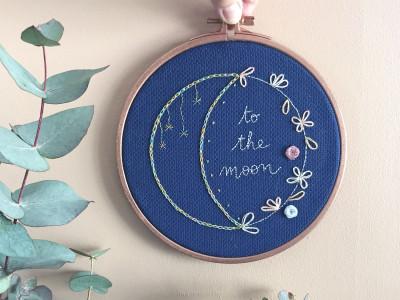diy broderie lune fleurie présentation